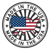 Stamp with map and flag of the USA. Made in the USA. — Vector de stock