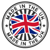 Stamp with flag of the UK. Made in the UK. — Stok Vektör