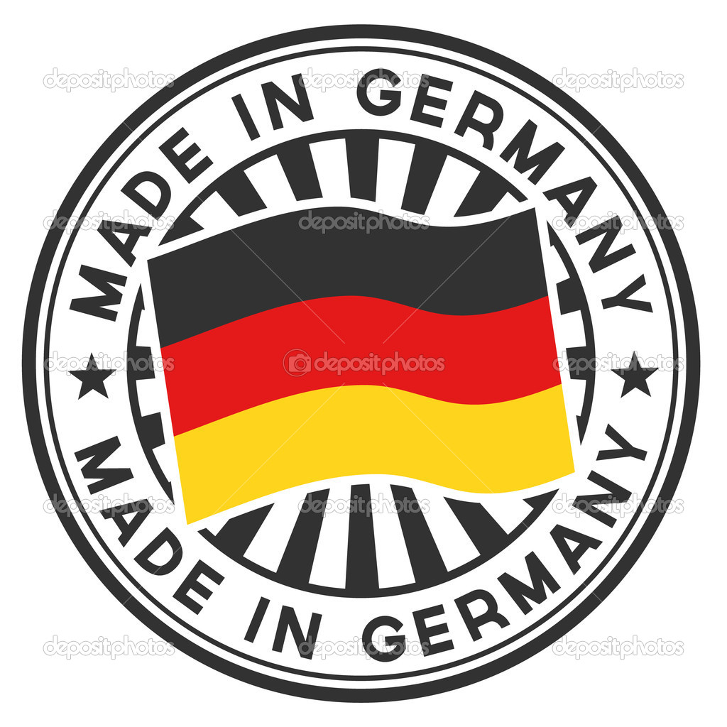 Vector stamp with flag of Germany. A circular lettering Made in Germany. — Stock Vector #11800939