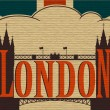 London, Tower Bridge and the flag of the UK — Stock Vector