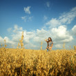 Young girl in the field — Stock Photo