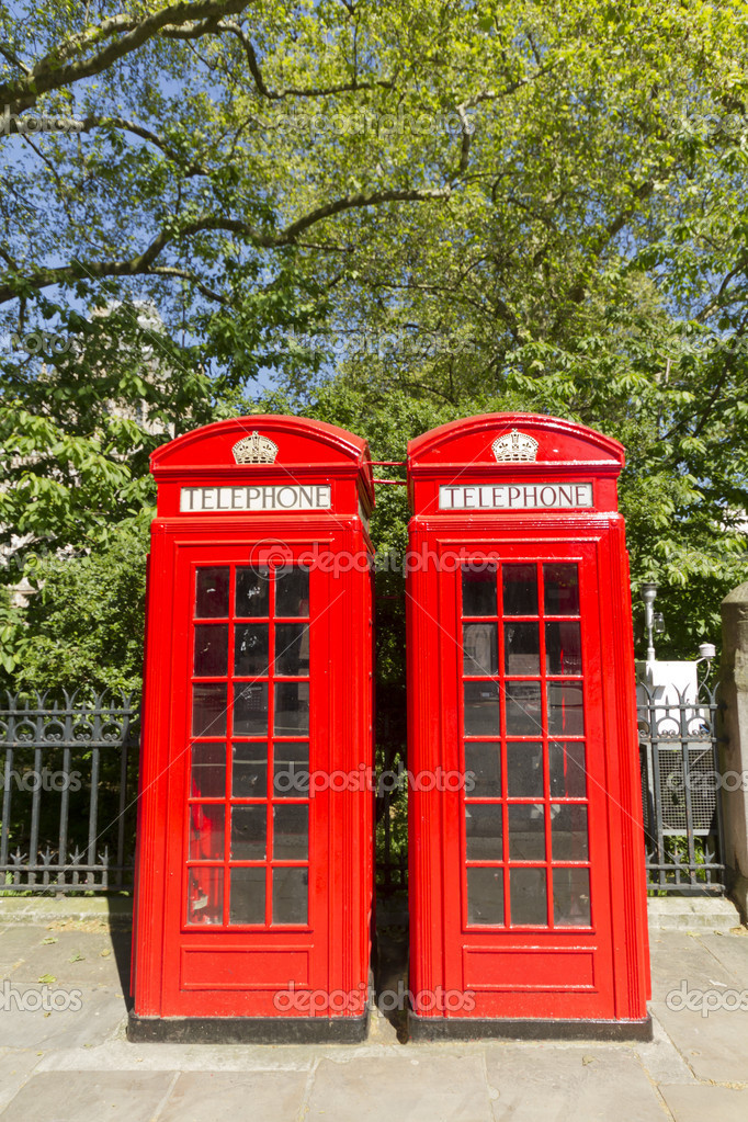 Freshly painted London Red Phone Boxes — Stock Photo #10783671