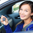 Stock Photo: Pretty female driver in white car showing car key