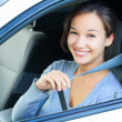 Stock Photo: Always fasten your seatbelt. Girl in a car