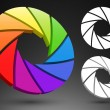 Aperture color wheel 3D — Stock Vector