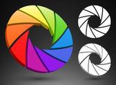 Aperture color wheel 3D — Stock Vector