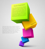 Colorful cubes 3D — Stock Vector