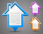Conjunto de punteros casa colorida — Vector de stock