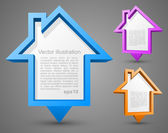Set of colorful house pointers — Vector de stock