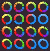 Ensemble d'icônes de flèches circulaires — Vecteur