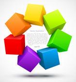 Gekleurde kubussen 3d — Stockvector