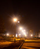 Night street lights in the city — Stock Photo