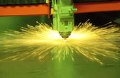 Laser cutting metal — Stock Photo