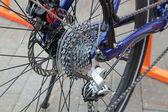 Dettaglio di ruota bici posteriore montagna — Foto Stock