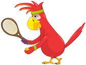 Funny Parrot. Tennis. — Stock Vector