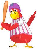 Funny Parrot. Baseball. — Stock Vector