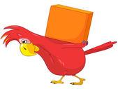 Perroquet drôle. livraison. — Vecteur