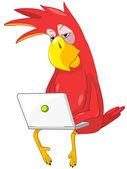 Funny Parrot. Coder. — Stock Vector