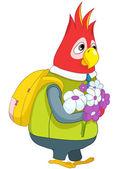Parrot Schoolboy. — Stock Vector