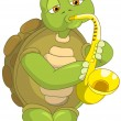 Funny Turtle. Saxophonist. — Stock Vector #11368414