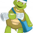 Stock Vector: Funny Turtle. Postman.