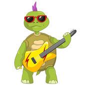 Grappige schildpad. rockster. — Stockvector