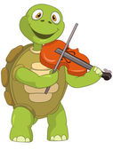 Funny Turtle. Violinist. — Stock Vector