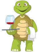 Funny Turtle. Waiter. — Stock Vector
