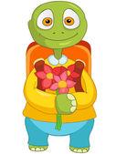 Komik kaplumbağa. okula dönüş. — Stok Vektör