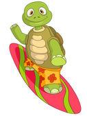 Komik kaplumbağa. sörf. — Stok Vektör