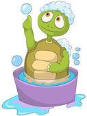 Funny Turtle. Baby Washing — Vector de stock