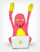Funny Monster. Coder. — Stock Vector