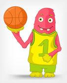 Funny Monster. Basketball. — Vector de stock