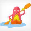 Funny Monster. Kayaker. — Stock Vector
