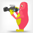 Stock Vector: Funny Monster. Cameraman.