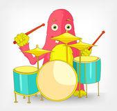 Grappige monster. drummer. — Stockvector