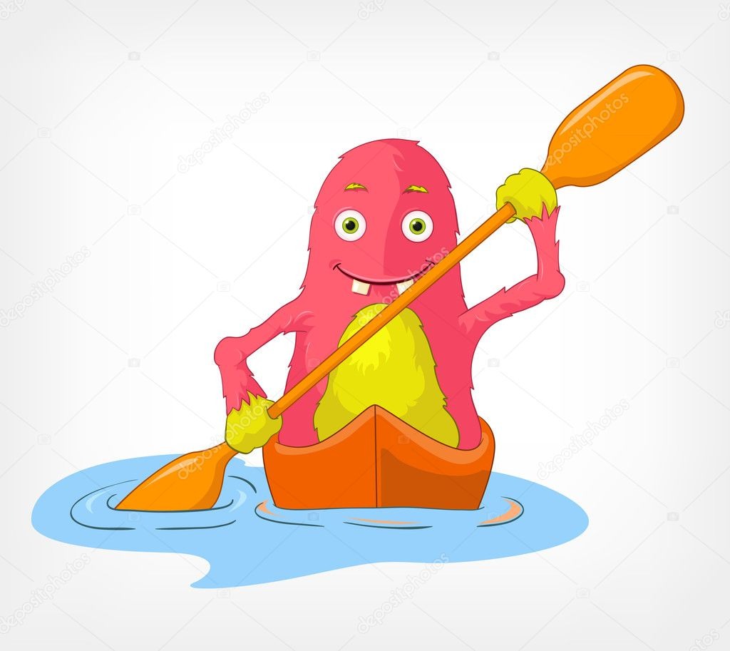 Cartoon Character Funny Monster Isolated on Grey Gradient Background. Kayaker. Vector EPS 10. — Stock Vector #11833652