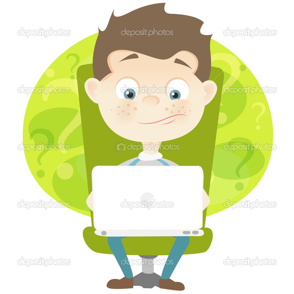 Cartoon Character Cute Teenager Isolated on White Background. Coder. Vector EPS 10. — Stock Vector #11946398