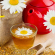 Healthy chamomile tea, red teapot and sack with daisies — Stock Photo