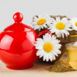 Healthy chamomile tea, red teapot and sack with daisies — Stock Photo #10814229