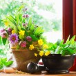 Sack with bouquet of healing herbs and flowers, mortar and pestle on windowsill — Stock Photo #10993574