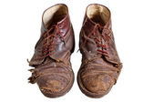 Old worn out boots, isolated — Stock Photo