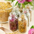 Different healing herbs in glass bottles, flowers bouquet, herbal — Stock Photo #11094391