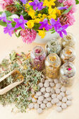 Different healing herbs in glass bottles, flowers bouquet in mort — Stock Photo