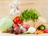 Different fresh vegetables on table — Stock Photo
