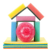 Home from dish washing sponge, dishcloth, scrub pad, isolated — Stock Photo