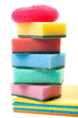 Pile of dish washing sponge, dishcloth, scrub pad for kitchen an — Stock Photo