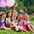 Beautiful girls celebrate birthday outdoors — Stock Photo