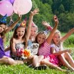 Beautiful girls celebrate birthday outdoors — Stock Photo