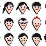 Avatar heads, vector faces icon set — Stock Vector #11424164
